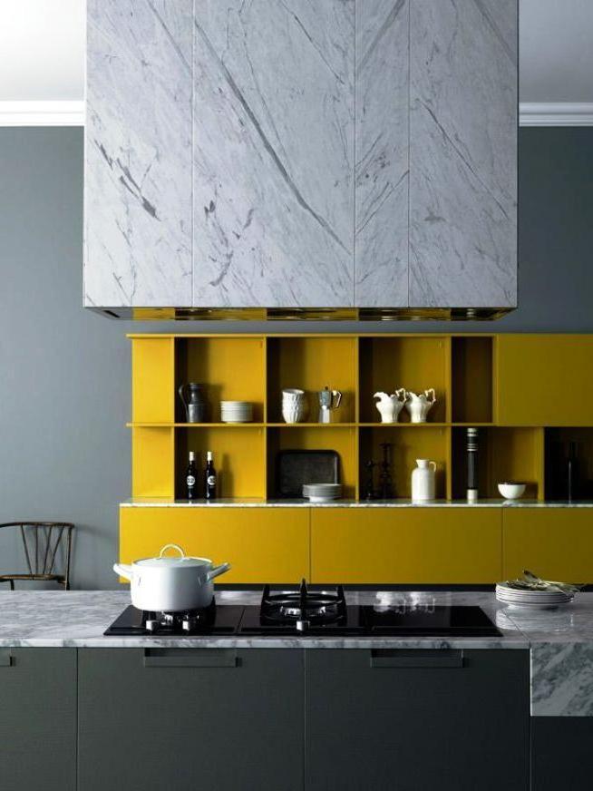Compartimentos amarelos na cozinha da sua casa