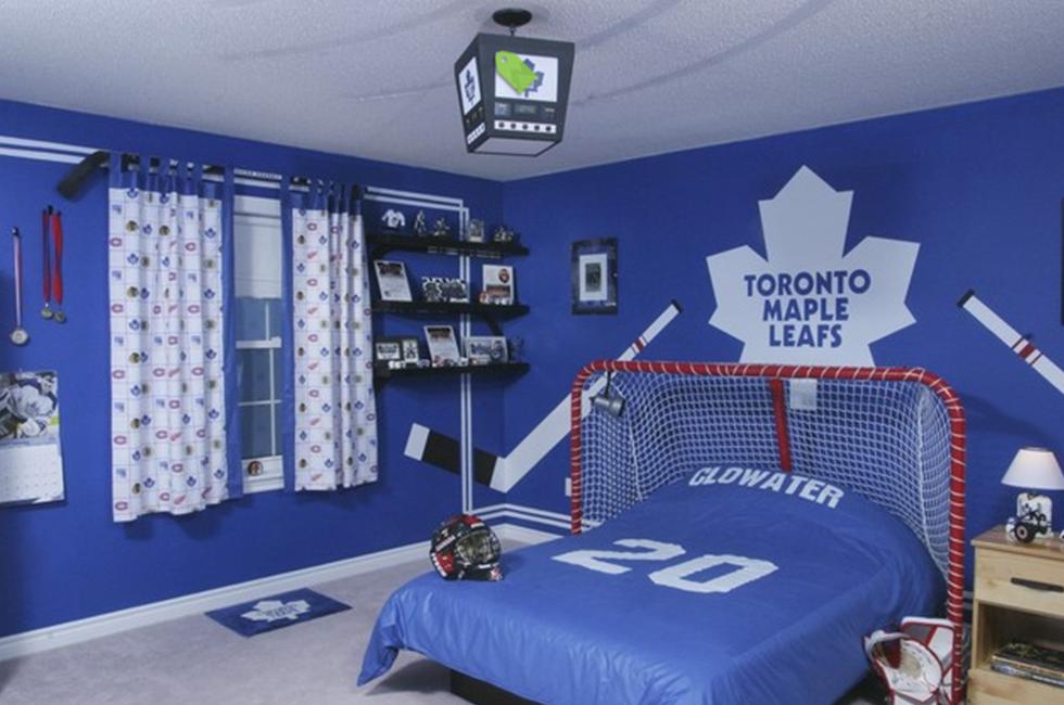 quarto todo personalizado esportivo na cor azulado