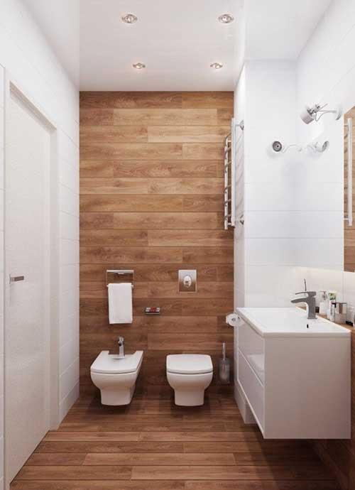 Banheiro planejado moderno em madeira
