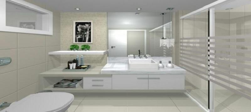 Banheiro planejado moderno todo em branco