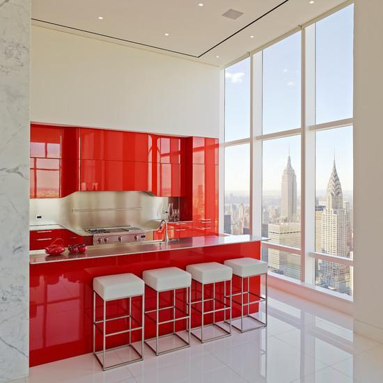 Cozinha americana simples vermelha