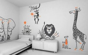 Desenhos delicados na parede podem funcionar