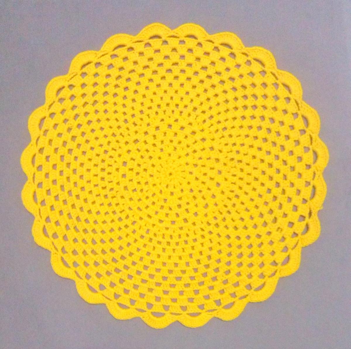 Jogo americano de crochê amarelo