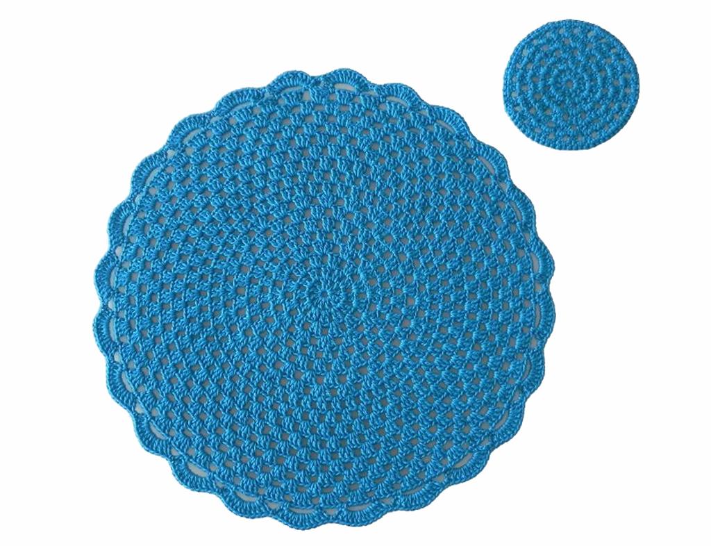 Jogo americano de crochê azul
