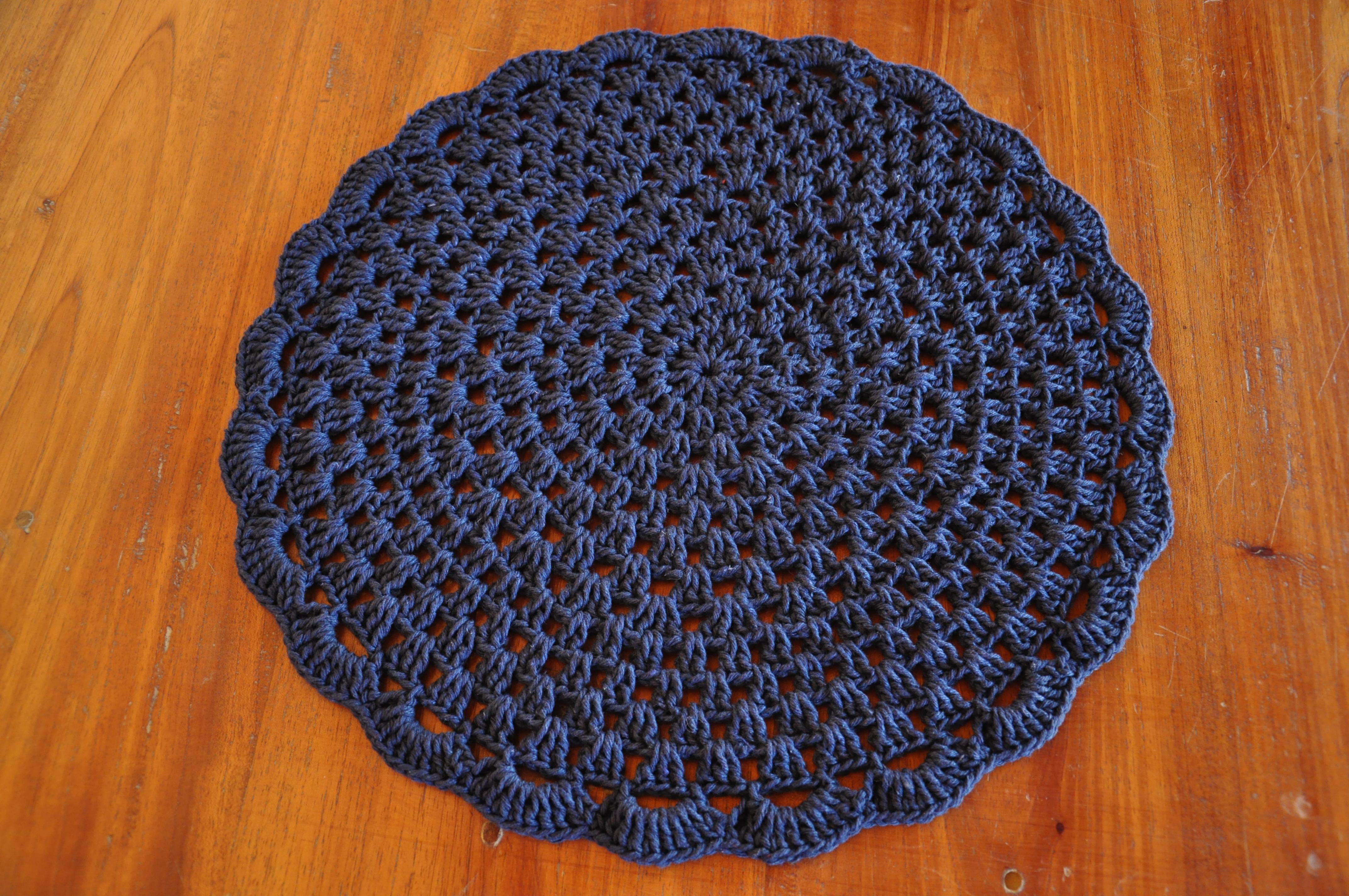 Jogo americano de crochê azull