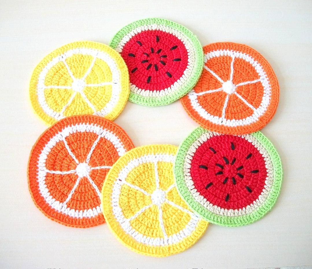 Jogo americano de crochê frutas