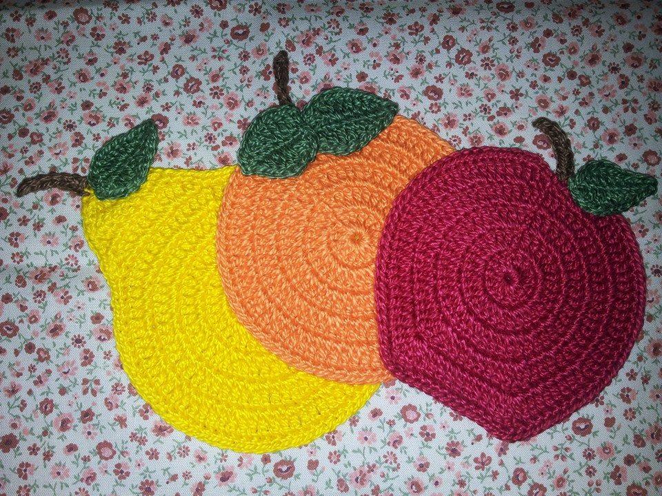 Jogo americano de crochê frutass