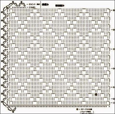 Jogo americano de crochê quadrado com gráfico