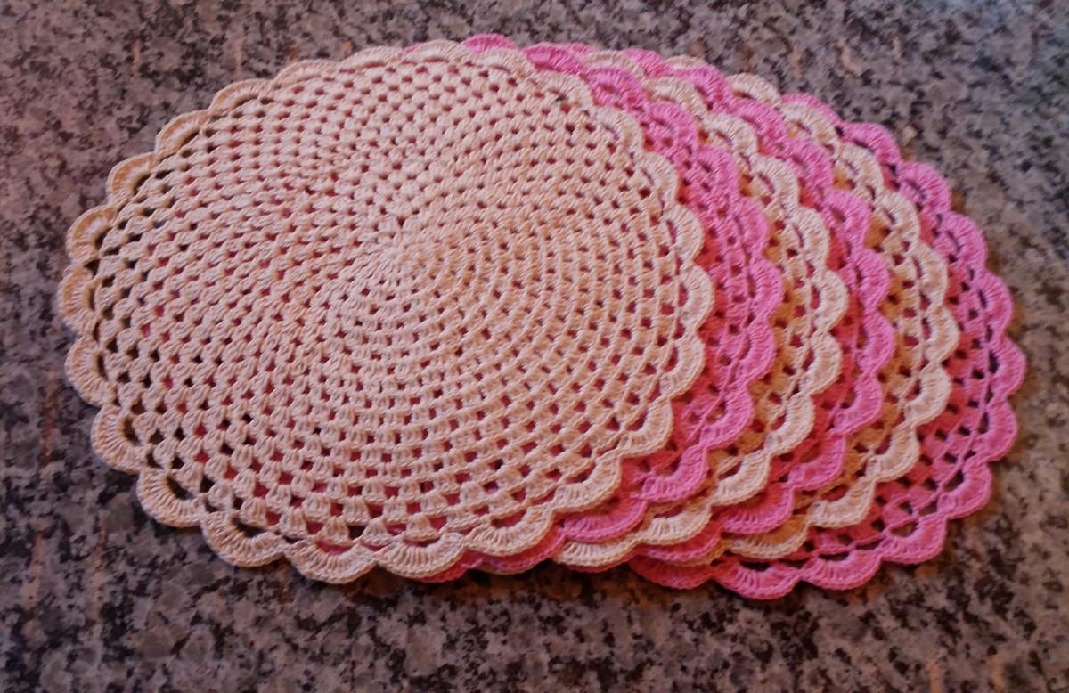 Jogo americano de crochê rosaa