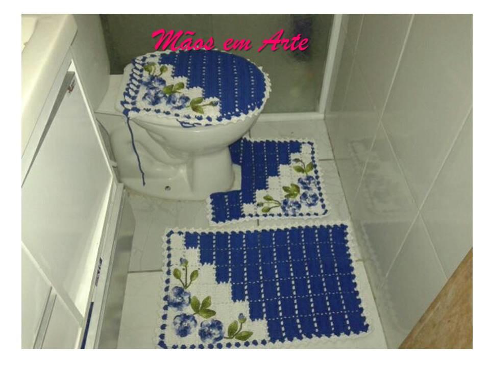 Jogo de banheiro dual color azul