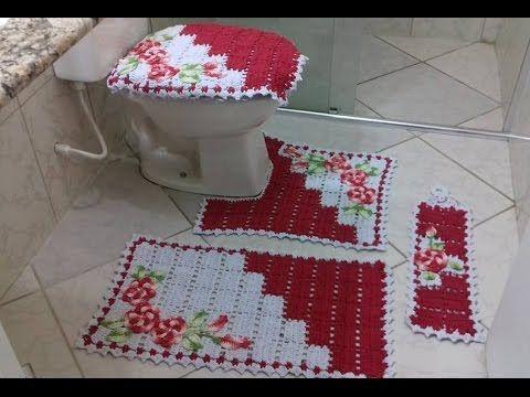 Jogo de banheiro dual color vermelho e branco