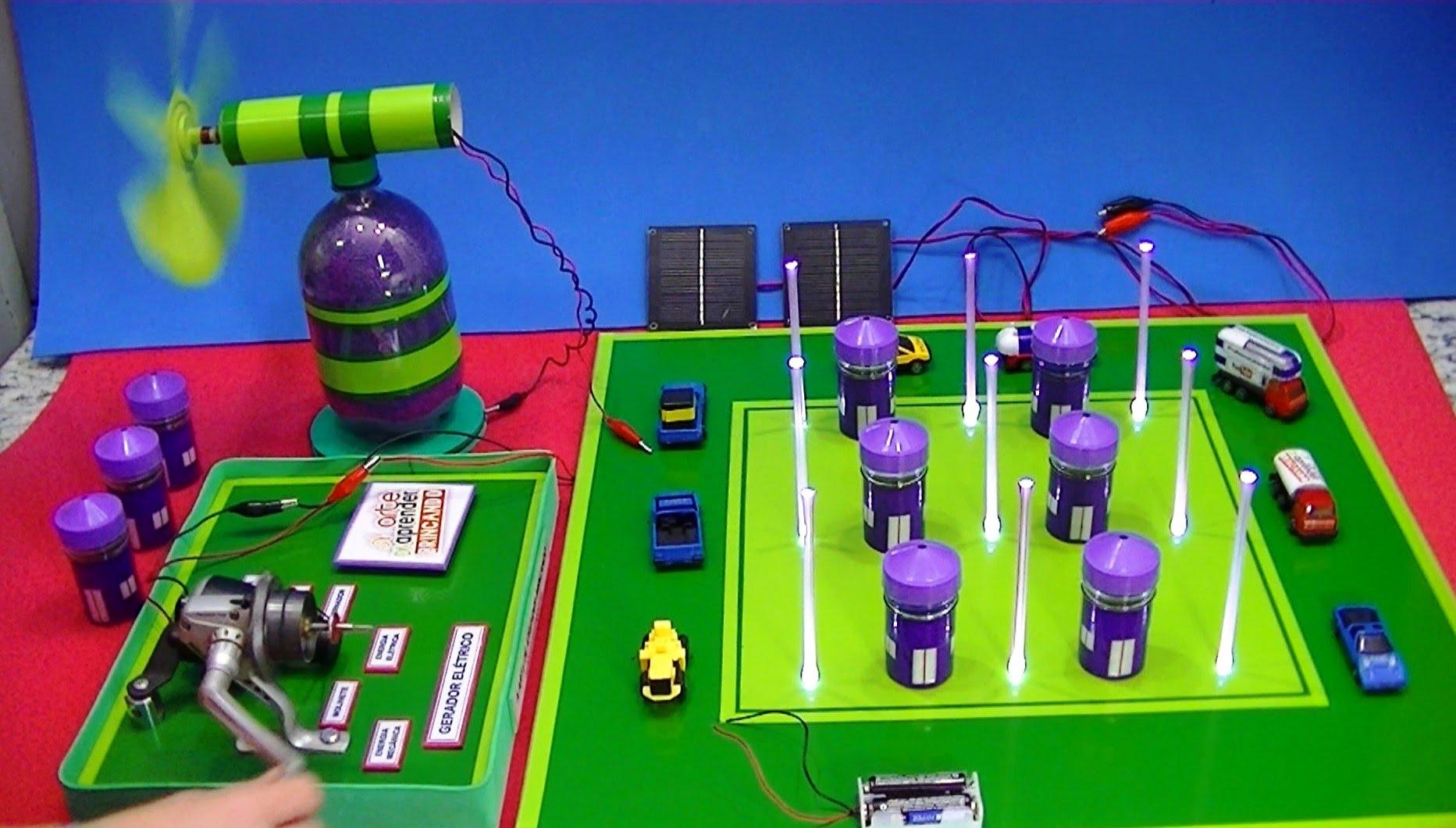 Maquete de cidade movida a energia eólica