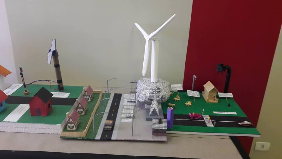 Maquete de cidade movida a energia eólicaa