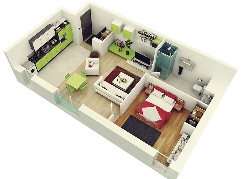 Planta de apartamento 1 quarto