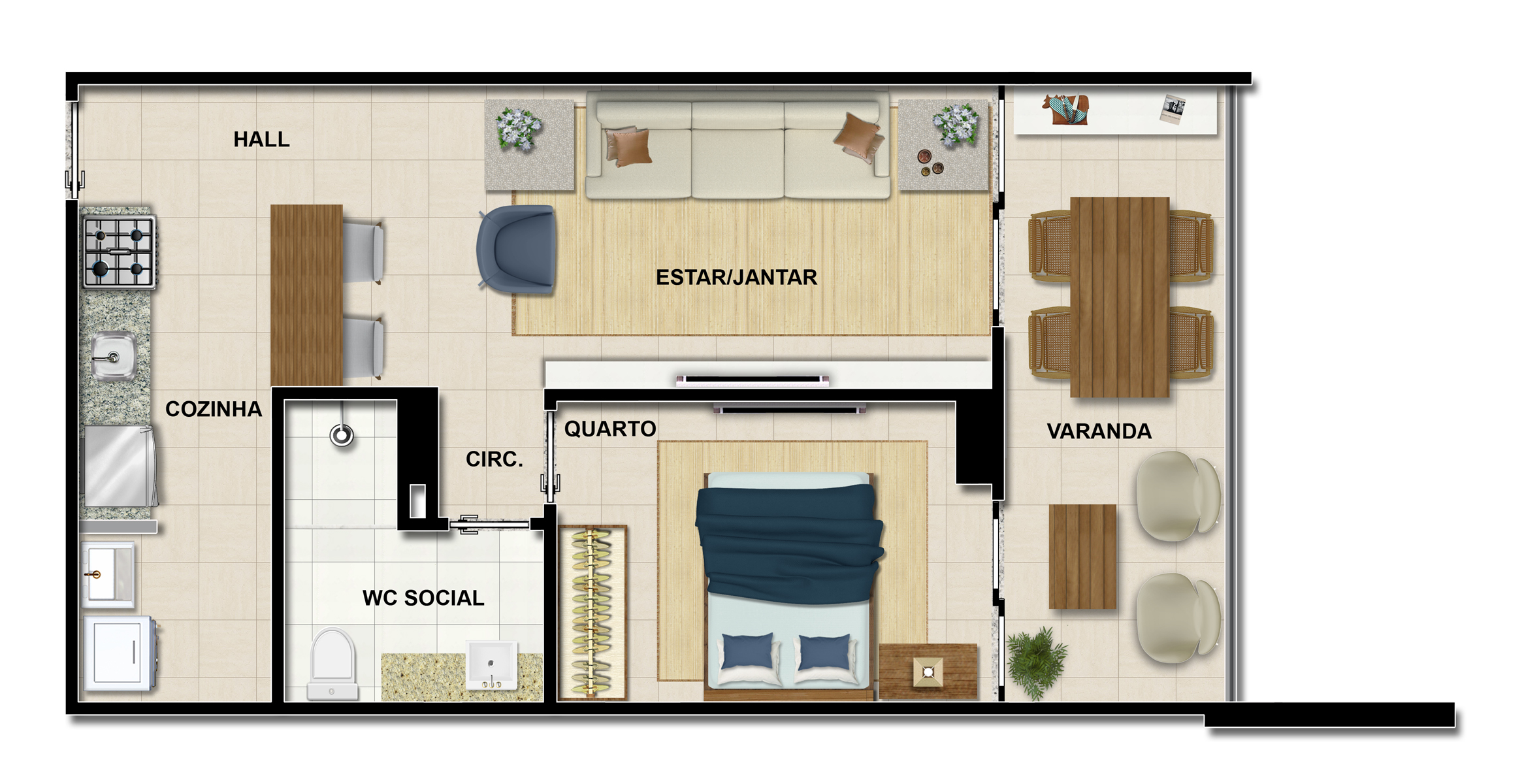 planta de apartamento de 1 quarto
