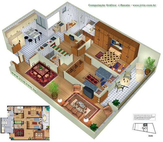 Planta de apartamento 3d