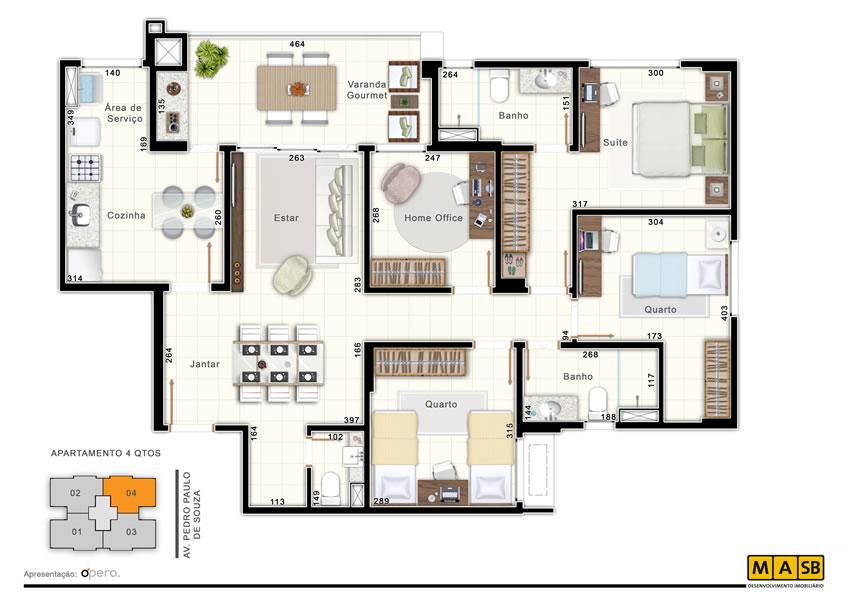 Planta de apartamento 4 quartos