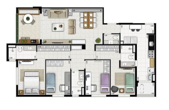 Planta de apartamento 4 quartoss