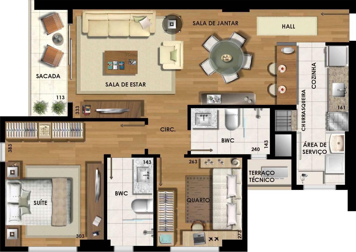 Planta de apartamento com 2 quartos e cozinha americanaa