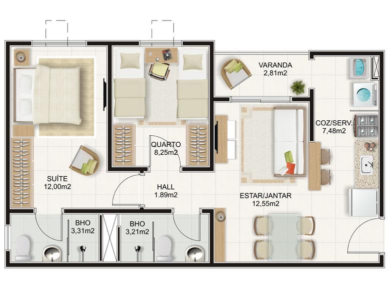 Planta de apartamento com 2 quartos