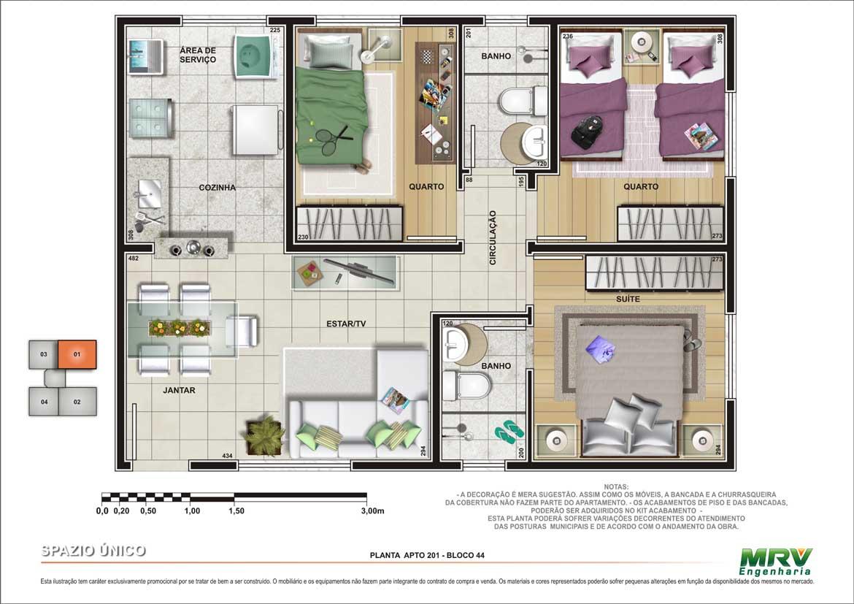 Planta de apartamento com 3 quartos