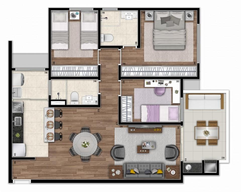 Planta de apartamento com 3 quartoss
