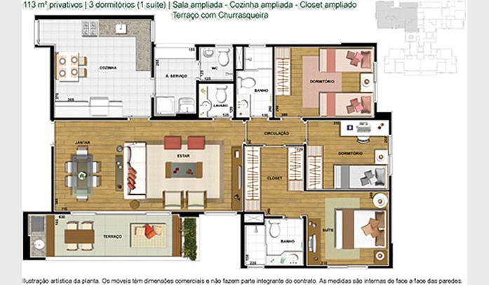 Planta de apartamento com closet