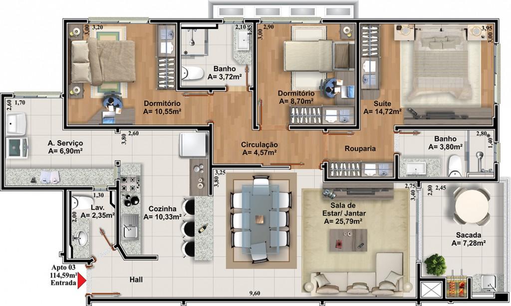 Planta de apartamento com closett