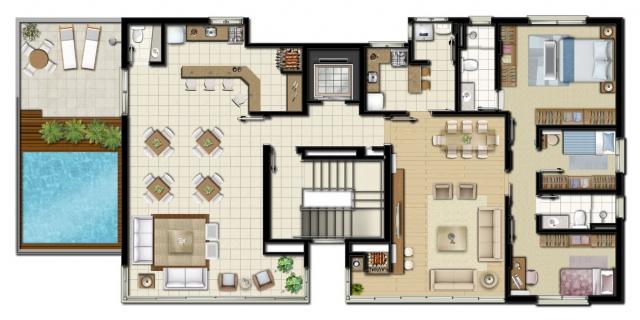 Planta de apartamento com piscina