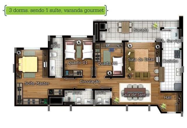 Planta de apartamento com varanda gourmet