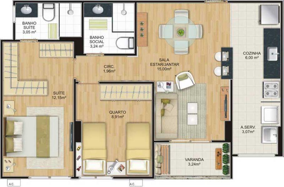 Planta de apartamento cozinha americana