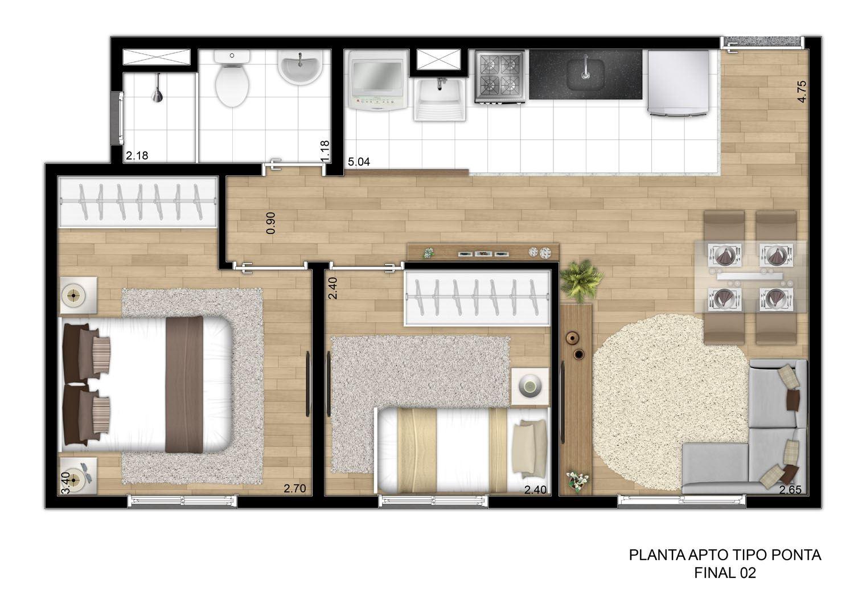Planta de apartamento de 40m22