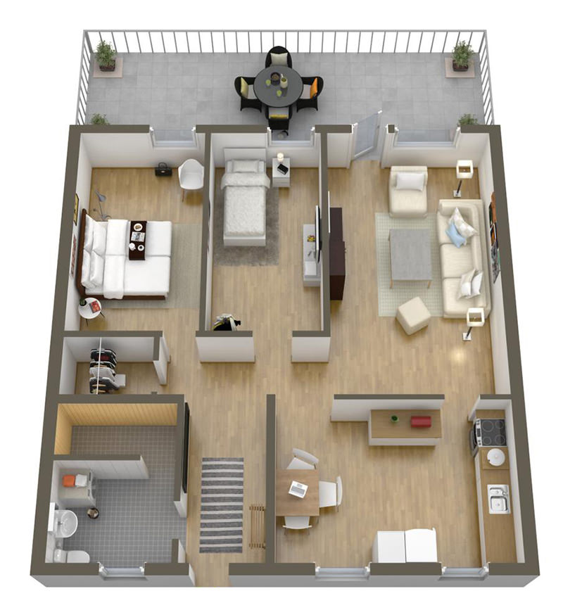 Planta de apartamento de 60m22