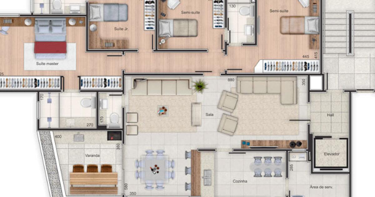 Suficiente Planta de apartamento - 62 projetos e ideias para você! YO72