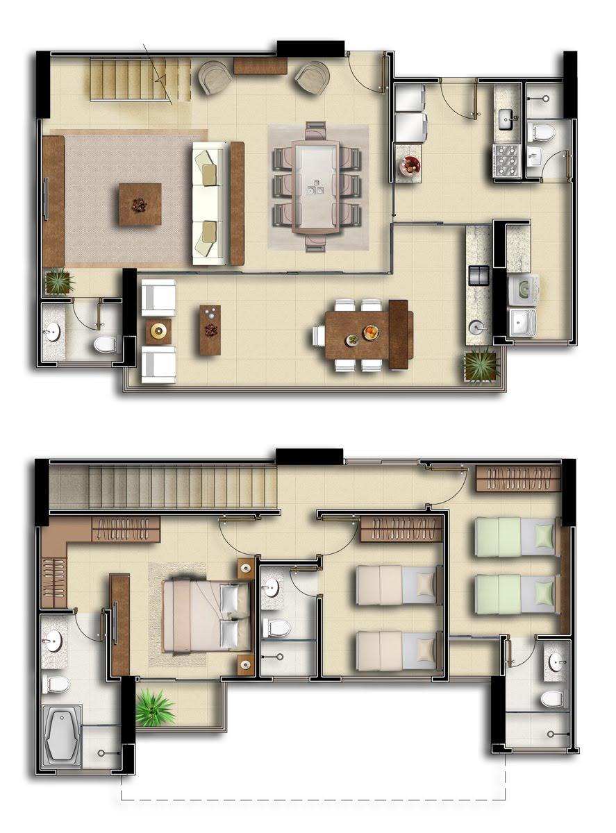 Planta de apartamento duplex