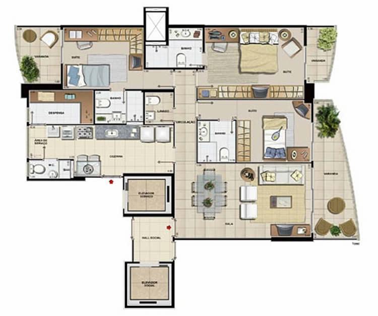Planta de apartamento grandee