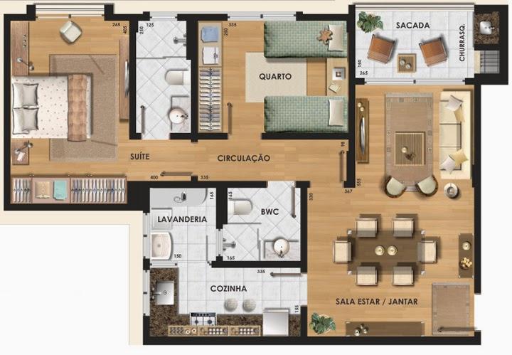 Planta de apartamento pequeno com medidas