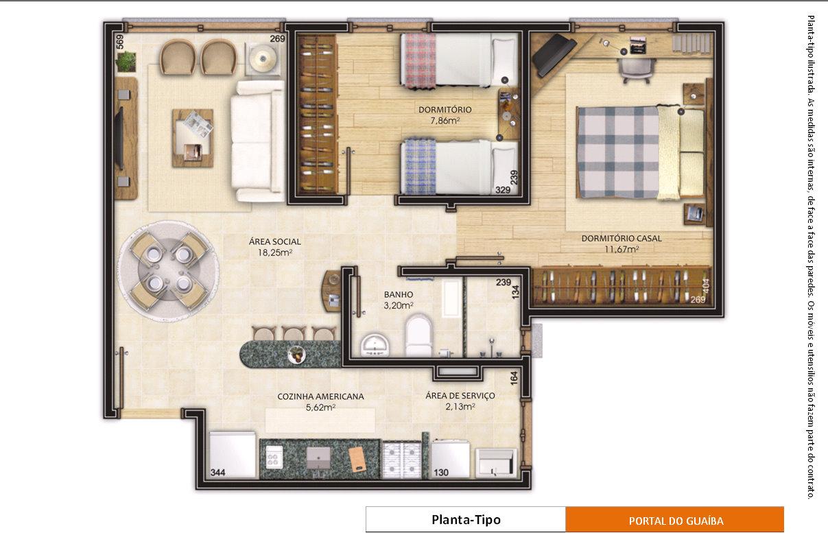 Planta de apartamento pequeno com medidass