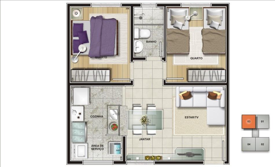 Favoritos Planta de apartamento - 62 projetos e ideias para você! KE22