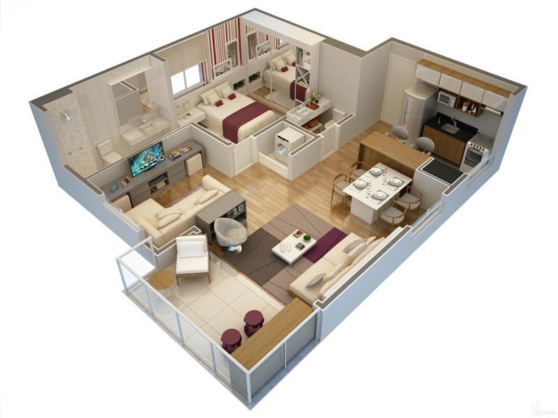 Planta de apartamentoo 3d
