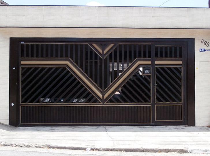 Portão de alumínio marromm