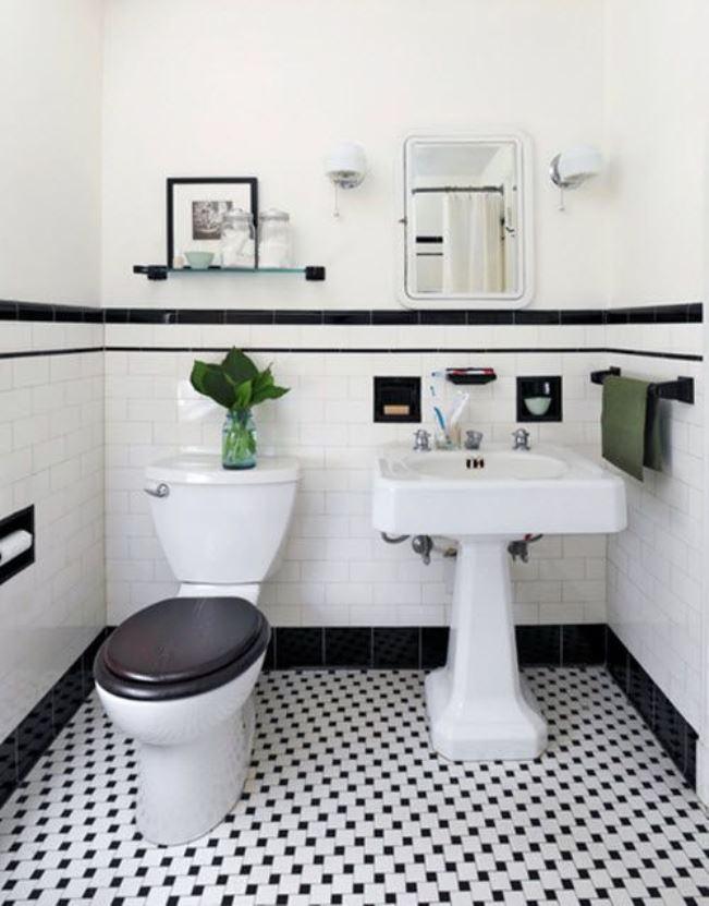 chão preto e branco em banheiro planejado
