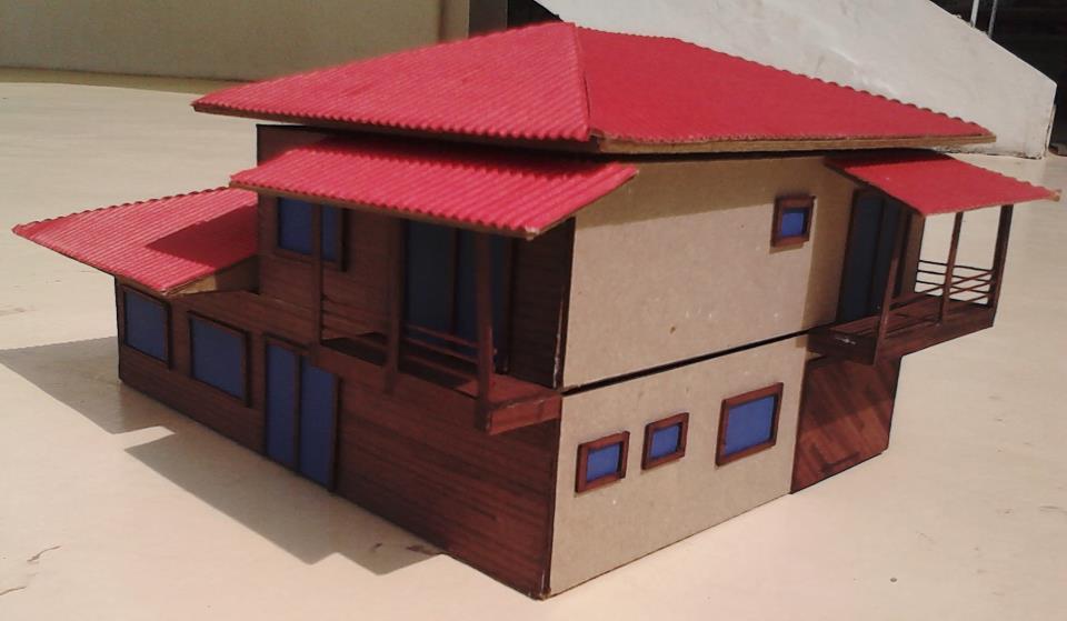maquete com telhado vermelho