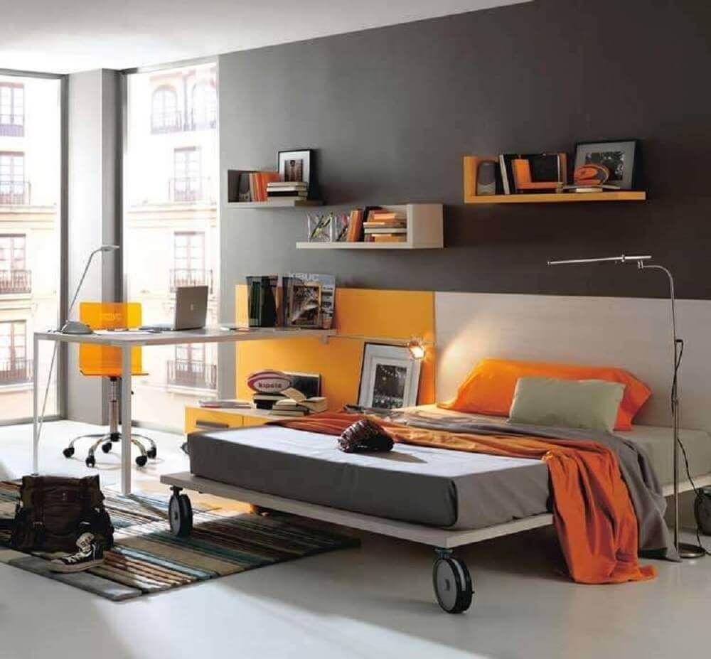 preto e laranja numa sumblime combinação na casa