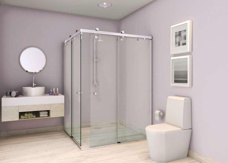 Banheiro quadrado com boxx