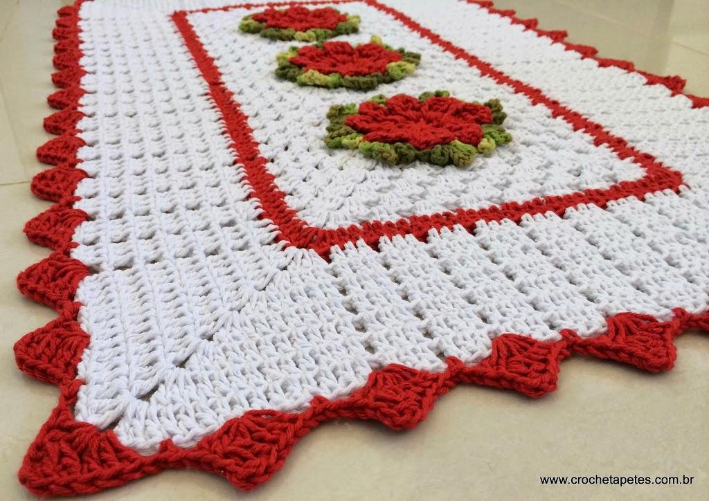 Gráfico de tapete de crochê com flores catavento