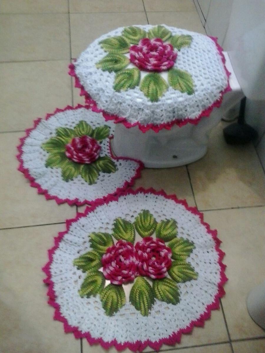 Jogo de banheiro de crochê flor amora