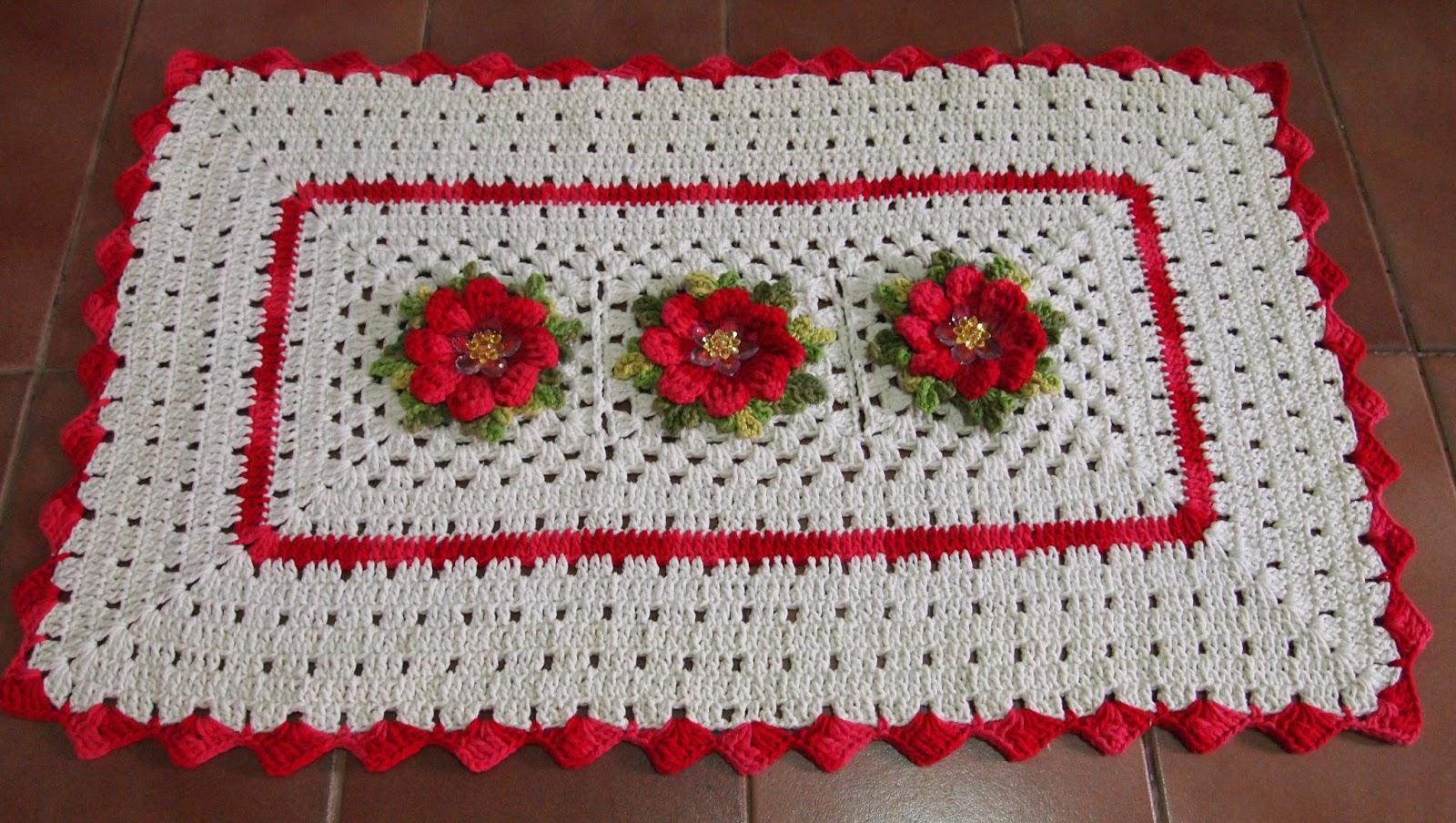 Tapetes de crochê com flores catavento