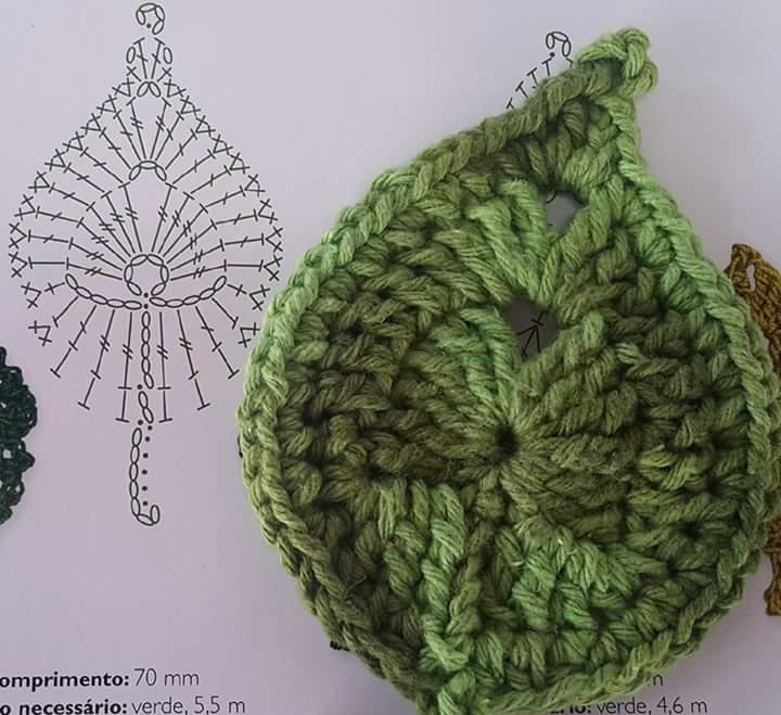 Tapetes de crochê com flores e folhas com gráficoss