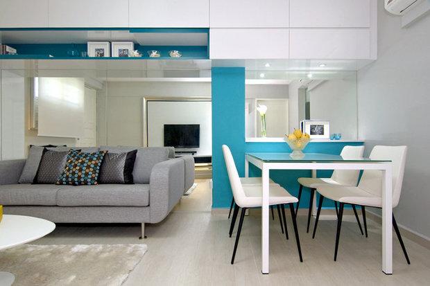 cinza e azul com chão decorado em uma residencia